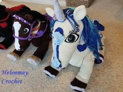 Helenmay Crochet Large Wild Mustang Horses and Unicorn Part 3 of 5 DIY video tutorial