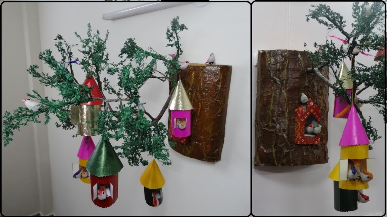 Home Decor Ideas Wall Hanging Birdhouse DIY Bird Nest Making