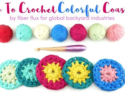 How To Crochet Colorful T-Shirt Yarn Coasters