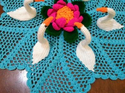 How to crochet swan doily # in marathi# English subtitles कसा विणायचा लोकरी 6 हंसाचा रुमाल#प्रकार 13