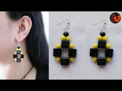 How to Make Beaded Earrings. DIY. Beginners. Design 12