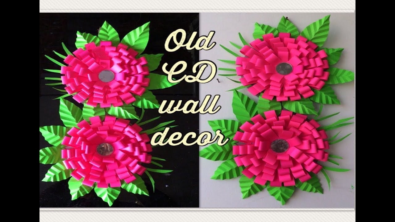 How to make craft paper ribbon flowers wall hanging using old cd how to make craft paper ribbon flowers wall hanging using old cd using mirror kids 2018 craft ideas mightylinksfo