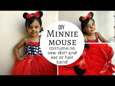 How to make Minnie Mouse No-sew tutu skirt and Ears.Simple and Easy DIY costume for toddler
