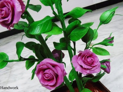 How to make Rose with clay step by step - Rose Bonsai Plants - how to make rose with Thai clay