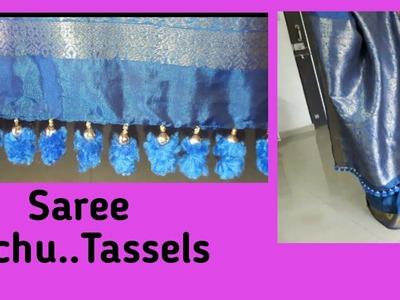 How to make Saree kuchu with Pom Poms & Beads.How to make Saree Tassels