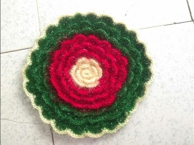 How to make woolen rose rumaal ideas at home