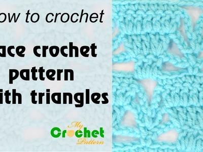 Lace crochet pattern with triangles - Free crochet pattern