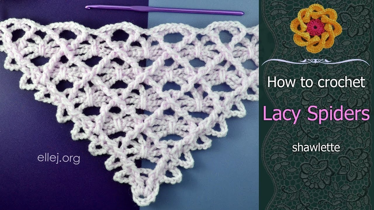 Lacy Spiders Crochet Shawl • Step by Step Crochet Tutorial • ellej.org