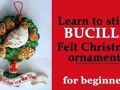 Learn how to stitch Bucilla felt applique Christmas ornaments. DIY