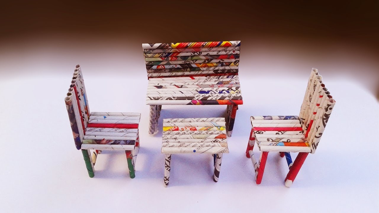 Newspaper Craft How To Make Sofa Chairs Table With News Paper