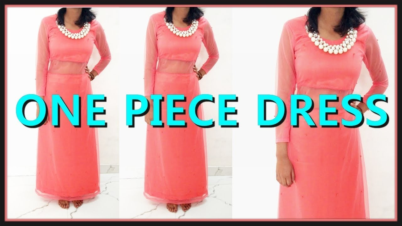 One Piece Dress Cutting And Stitching | One Piece Dress With Net | DIY - Tailoring With Usha