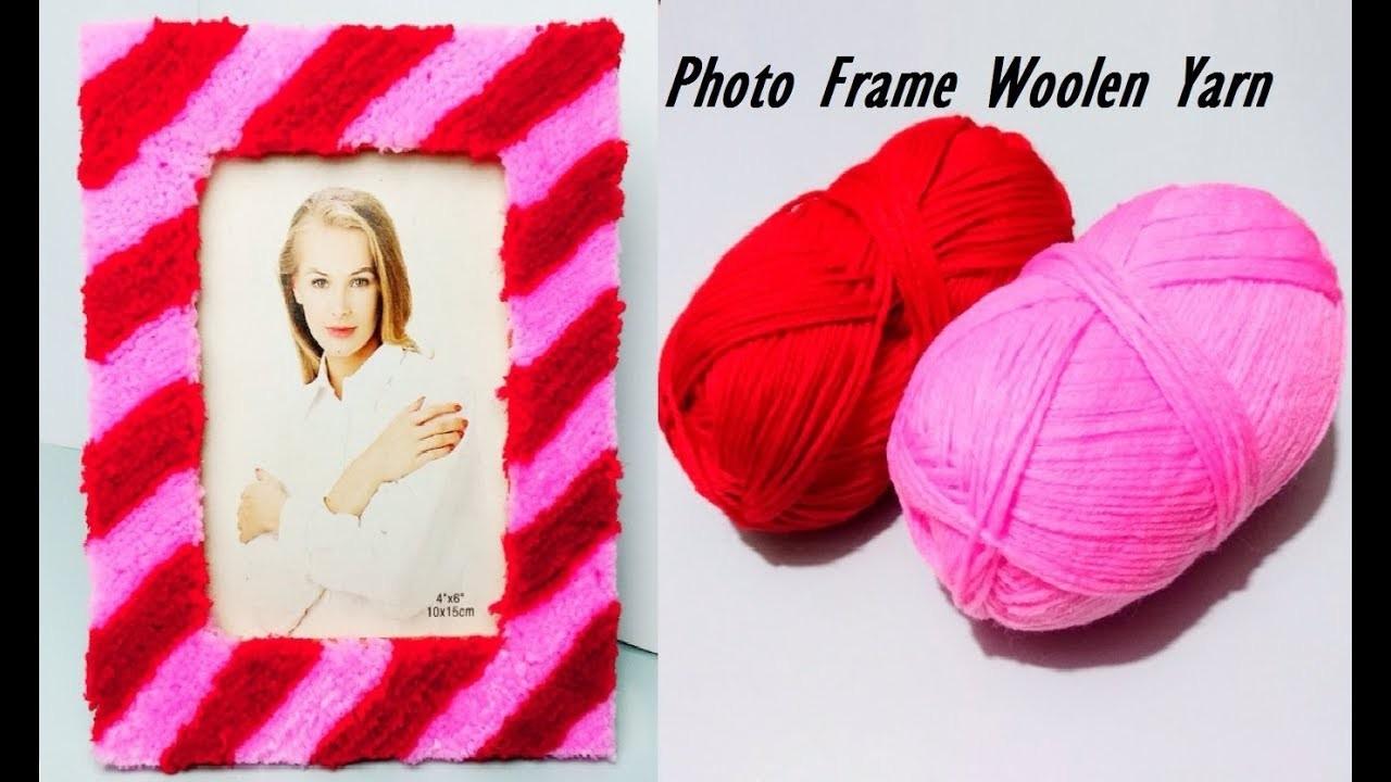 PHOTO FRAME Idea   How to Make Photo Frame using Woolen Yarn and Cardboard  