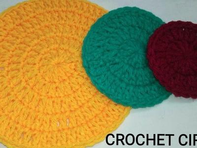 Crochet Circle  How to crochet a Flat Circle  Hindi  Double Crochet Circle  Vinkam  Round Thalposh
