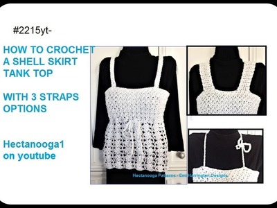 Crochet Summer Tank Top  Sweater with shell stitch, make any size,  Pattern #2215yt