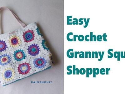 Easy DIY Granny Square Crochet Shopper Tote