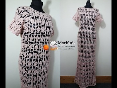 How to crochet wedding summer long dress pattern by marifu6a