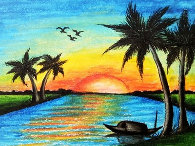 How to draw Scenery of Sunset.Step by step(easy draw)