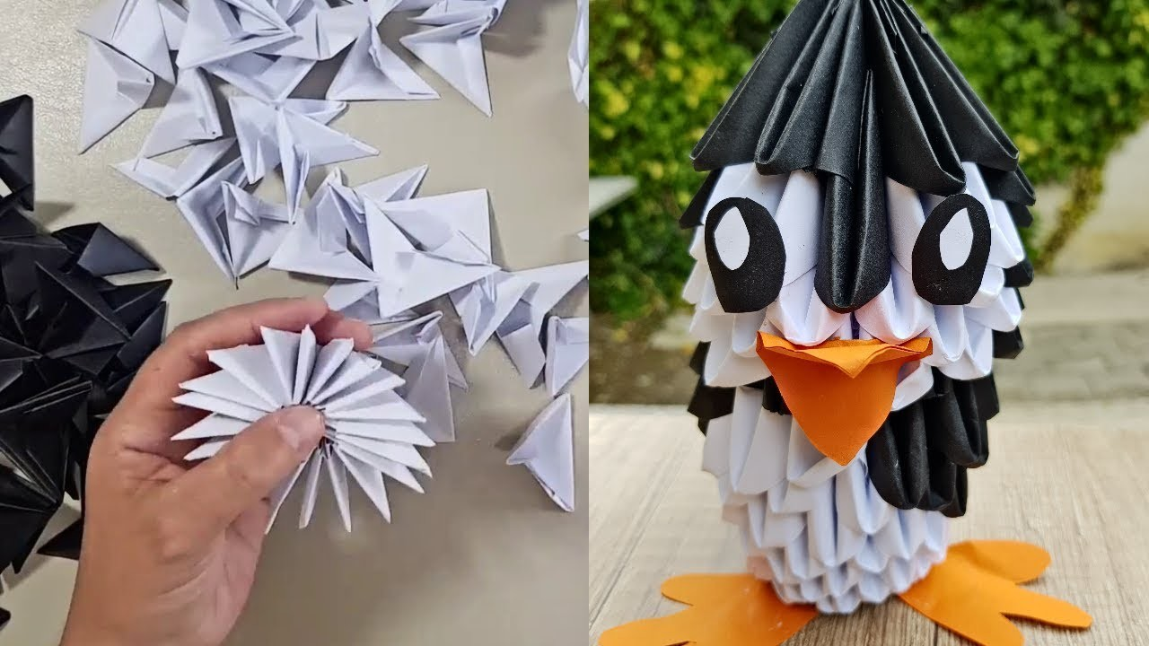 How to make 3D Origami Pinguin - Diella Crafts