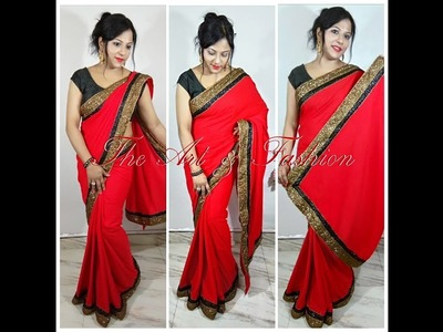 How to make a beautiful, fashionable, stylist, elegant red designer saree at home in hindi