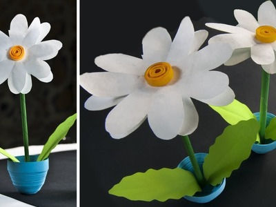 How to Make a Mini Paper Flower Pot - Home Decor - 3D flowers