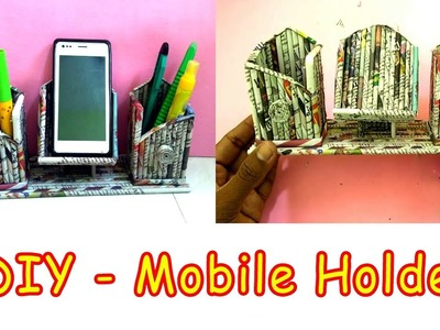 How to make a mobile and pen holder Using Newspaper | All Type videyos