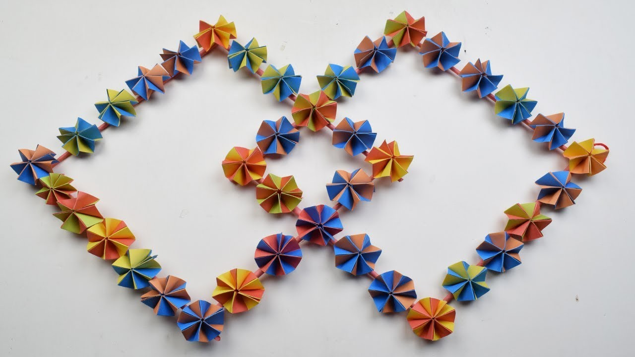 How to make a paper flower wall hanging - DIY Hanging Flower - Wall Decoration Ideas