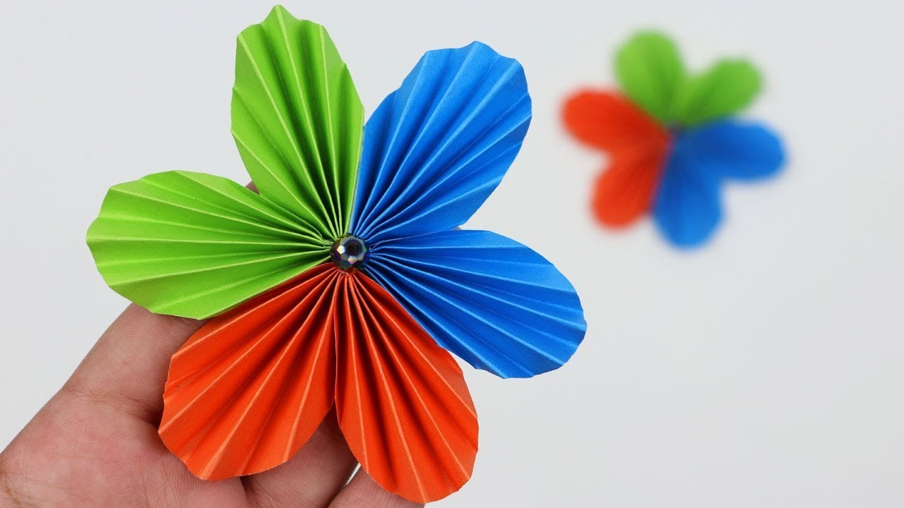 How To Make Flowers With Colour Paper Easy Flowers Healthy