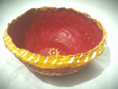 How to make bowl using newspaper and multani mitti,newspaper bowl,clay bowl,tokri ||Smart craft ||
