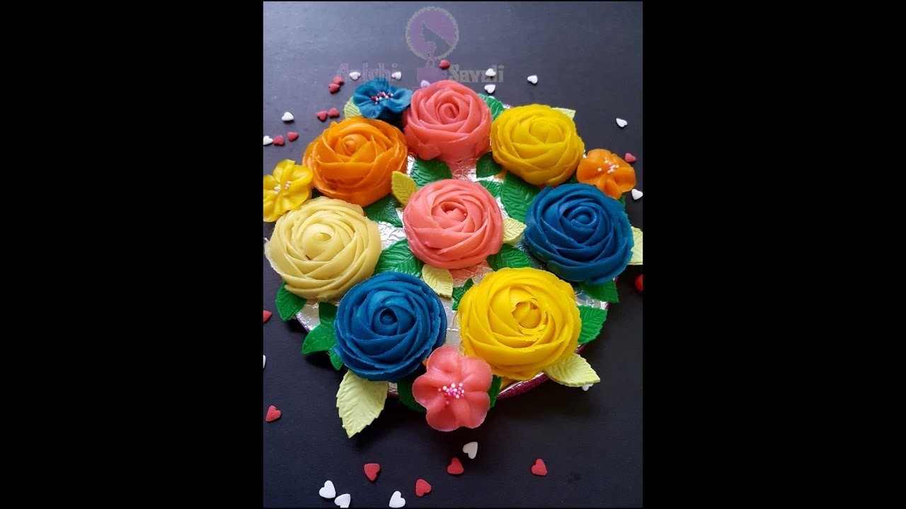 How to make decorative Rose flowers from sweet moong bean paste. roses and wild roses