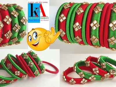 How to make designer SilkThread Bangles using tape || Silk Thread Bangles making tutorial