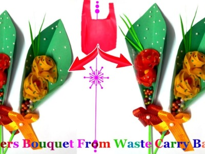 How To Make Flower Bouquet From Waste Carry Bags |Valentine day special |Best out of waste