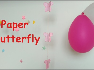 How to make hanging paper butterfly. Paper butterfly for beginners. Decoration Butterfly