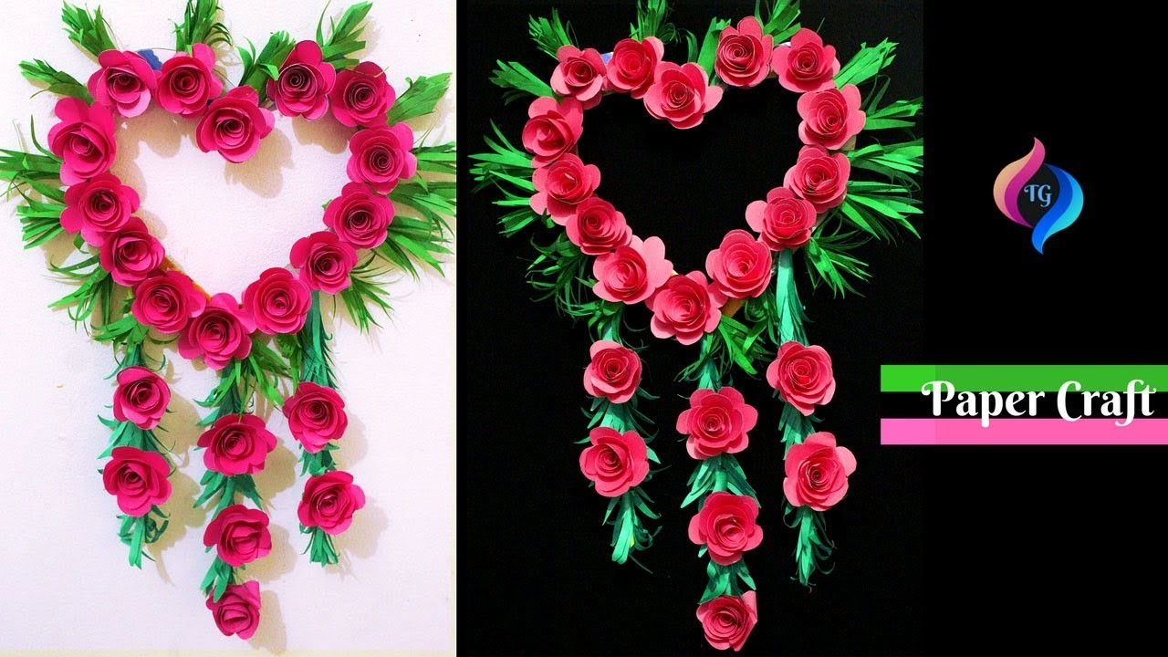How To Make Paper Wall Hanging Easy And Quick Paper Flower Diy