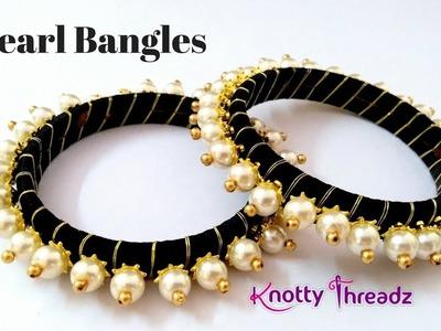 How to make Pearl Bangles | Black Silk Thread Pearl Bangles | DIY | www.knottythreadz.com