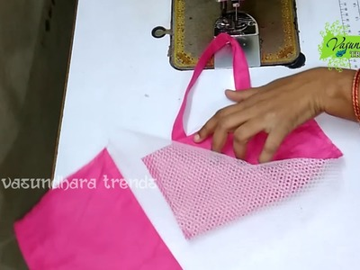 How To Stitch.Sew Bag With Can Can Net Fabric || How To Make Net Fabric Bag At Home