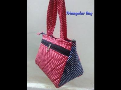 Triangular  small hand bag. how to sew samosa hand bag at home